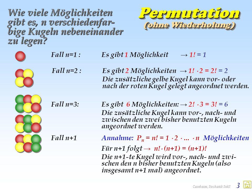 Permutation Wie viele Möglichkeiten gibt es, n verschiedenfar-bige Kugeln nebeneinander zu legen (ohne Wiederholung)