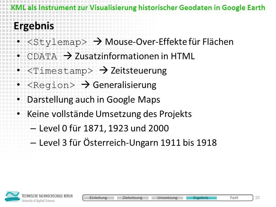 Ergebnis <Stylemap>  Mouse-Over-Effekte für Flächen