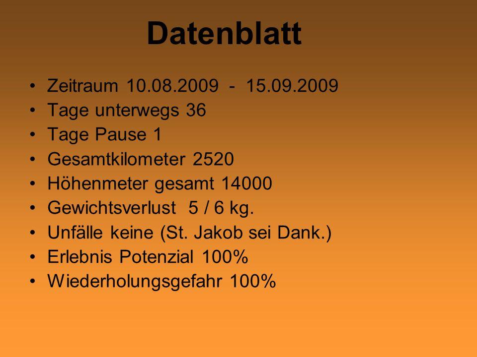 Datenblatt Zeitraum 10.08.2009 - 15.09.2009 Tage unterwegs 36