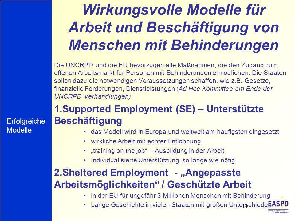 Wirkungsvolle Modelle für Arbeit und Beschäftigung von Menschen mit Behinderungen