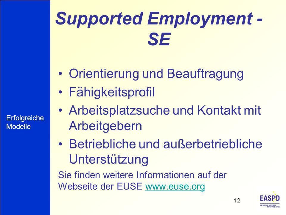 Supported Employment - SE
