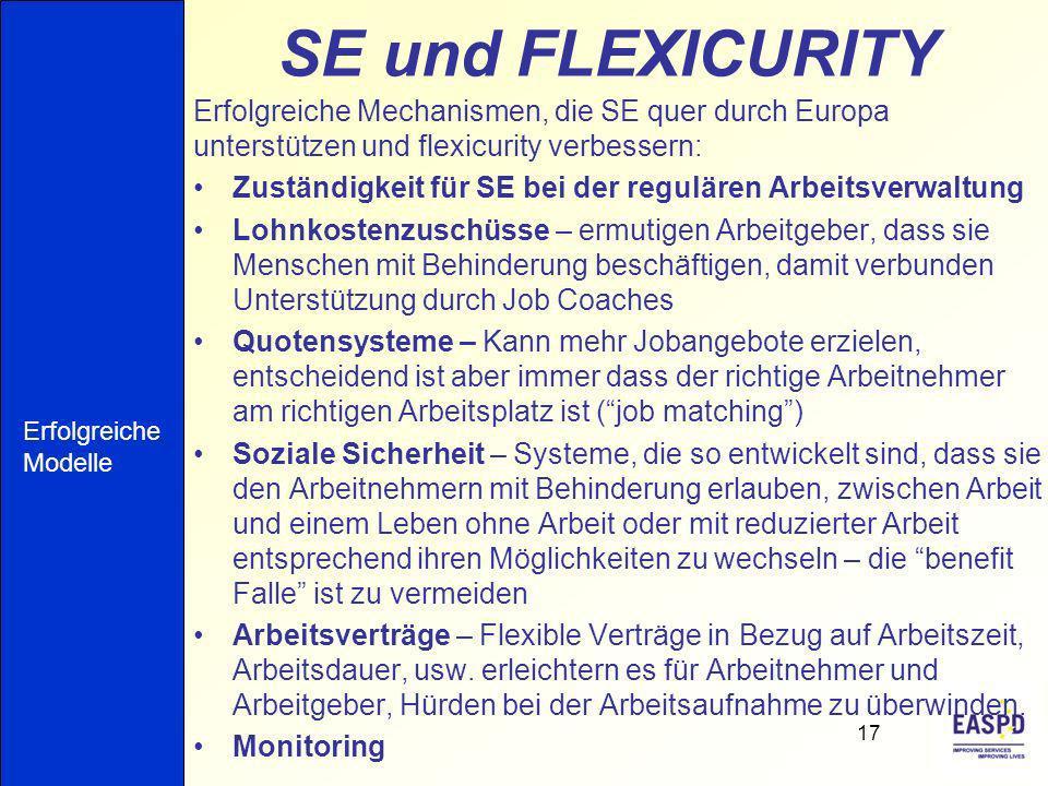 SE und FLEXICURITY Erfolgreiche Mechanismen, die SE quer durch Europa unterstützen und flexicurity verbessern:
