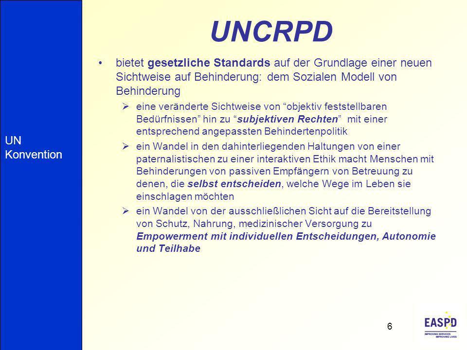 UNCRPD bietet gesetzliche Standards auf der Grundlage einer neuen Sichtweise auf Behinderung: dem Sozialen Modell von Behinderung.