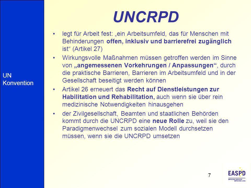 """UNCRPD legt für Arbeit fest: """"ein Arbeitsumfeld, das für Menschen mit Behinderungen offen, inklusiv und barrierefrei zugänglich ist (Artikel 27)"""
