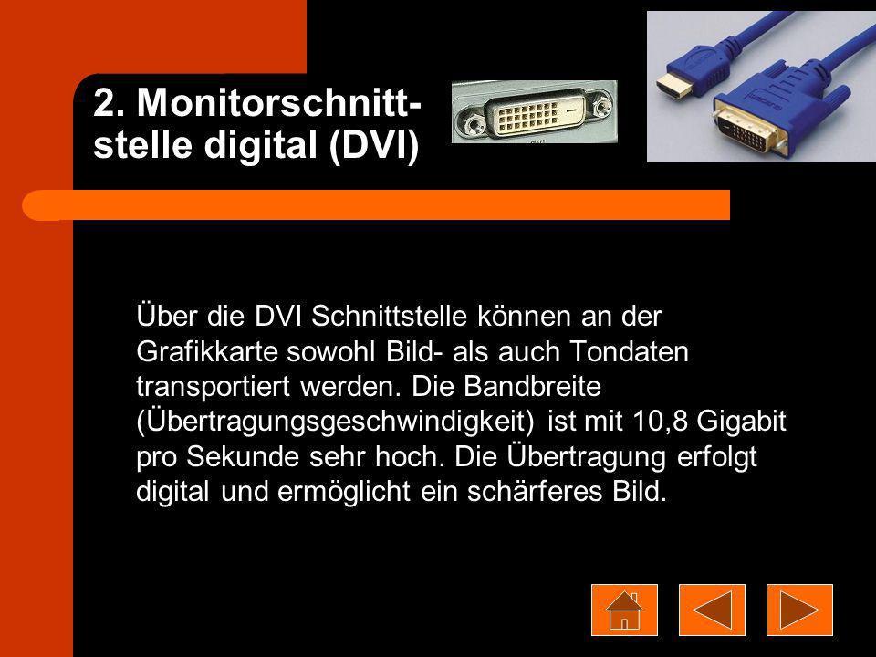 2. Monitorschnitt- stelle digital (DVI)