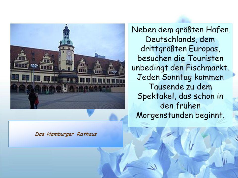 Neben dem größten Hafen Deutschlands, dem drittgrößten Europas, besuchen die Touristen unbedingt den Fischmarkt. Jeden Sonntag kommen Tausende zu dem Spektakel, das schon in den frühen Morgenstunden beginnt.