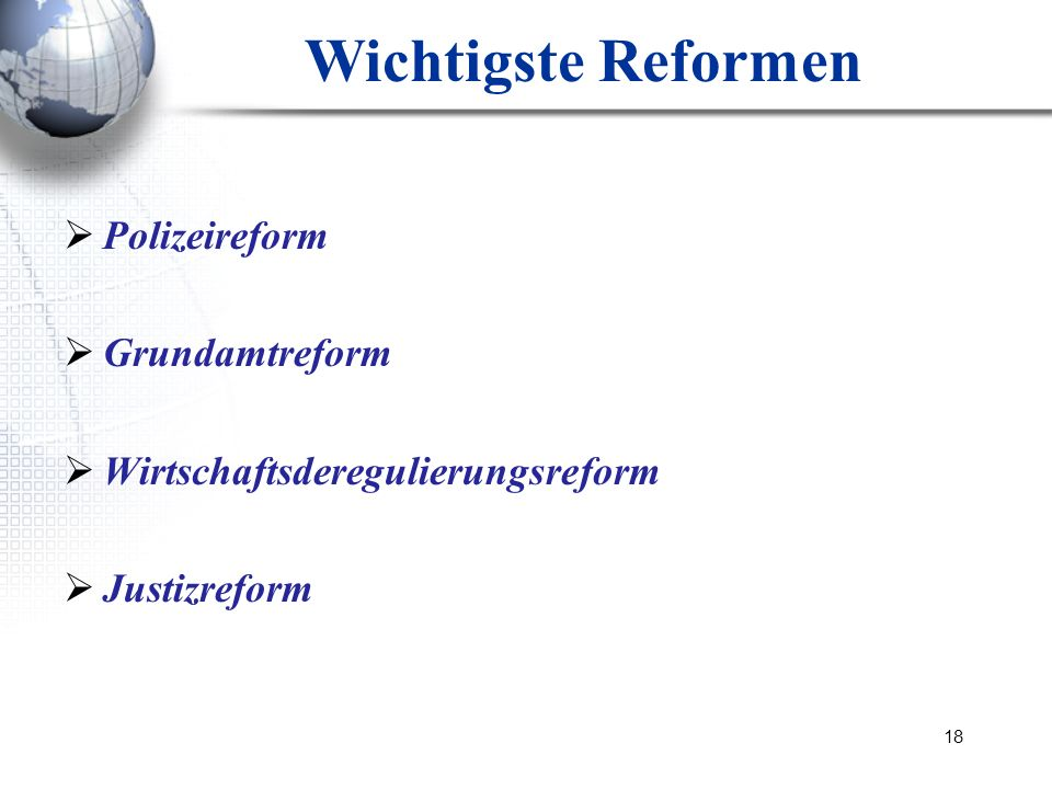 Wichtigste Reformen Polizeireform Grundamtreform