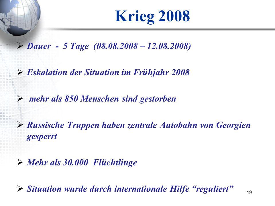 Krieg 2008 Dauer - 5 Tage (08.08.2008 – 12.08.2008) Eskalation der Situation im Frühjahr 2008. mehr als 850 Menschen sind gestorben.