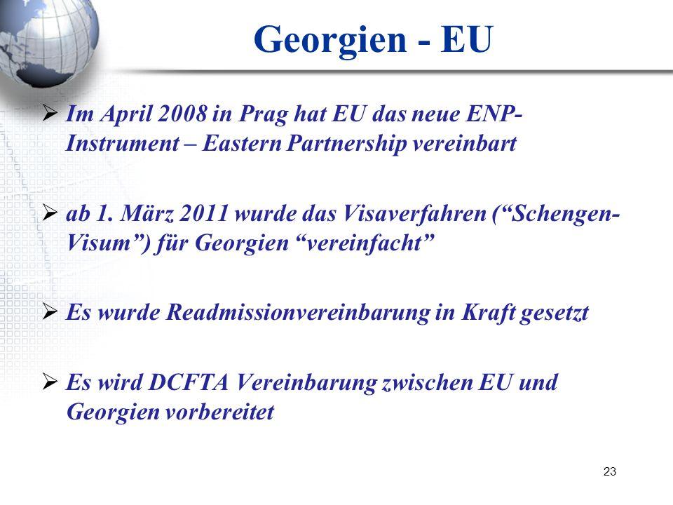 Georgien - EUIm April 2008 in Prag hat EU das neue ENP-Instrument – Eastern Partnership vereinbart.