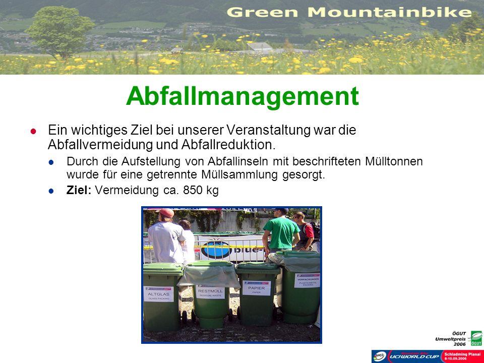 Abfallmanagement Ein wichtiges Ziel bei unserer Veranstaltung war die Abfallvermeidung und Abfallreduktion.