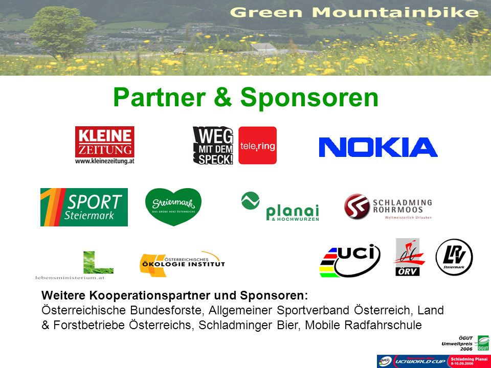 Partner & Sponsoren Weitere Kooperationspartner und Sponsoren: