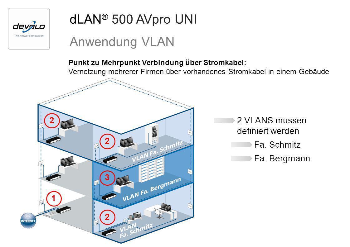 dLAN® 500 AVpro UNI Anwendung VLAN 2 VLANS müssen definiert werden