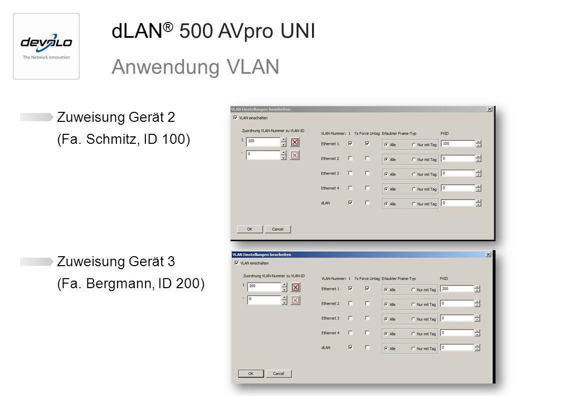 dLAN® 500 AVpro UNI Anwendung VLAN Zuweisung Gerät 2