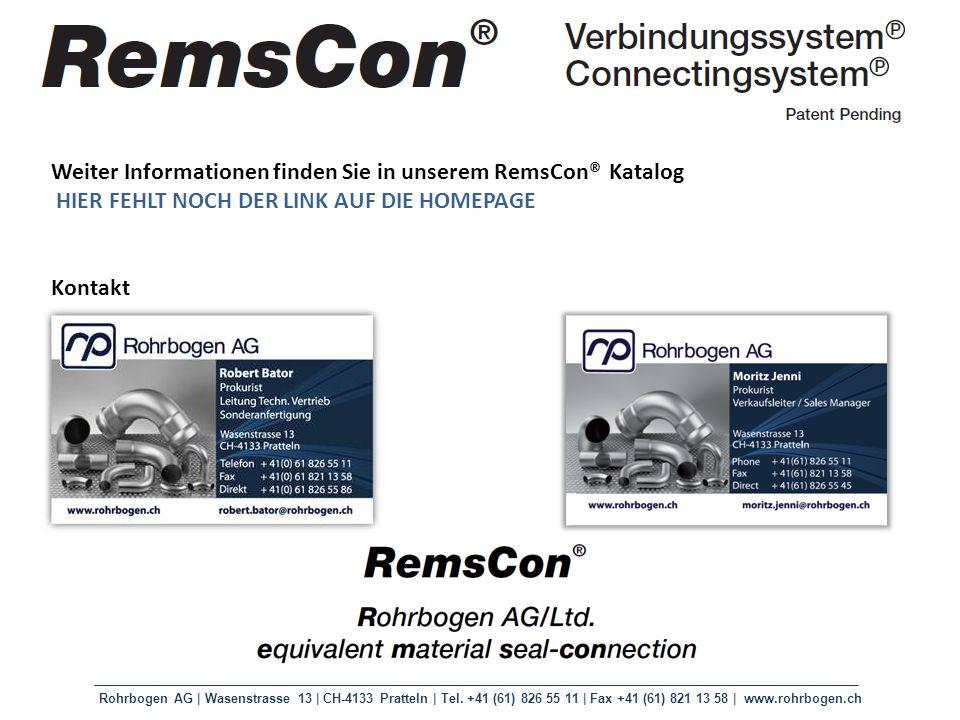 Weiter Informationen finden Sie in unserem RemsCon® Katalog