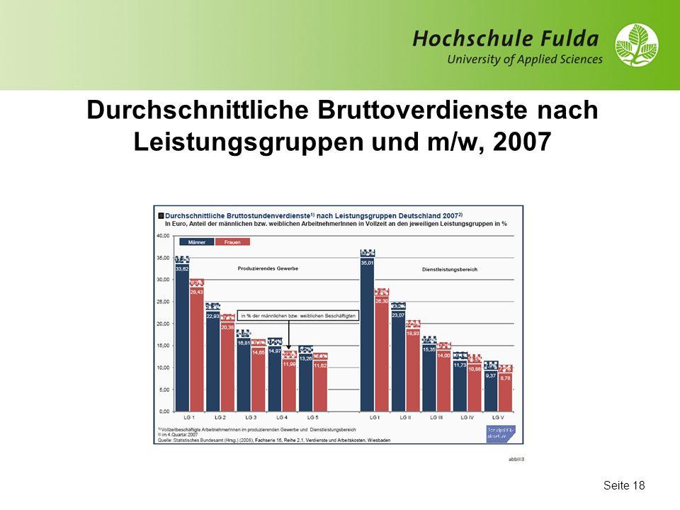Durchschnittliche Bruttoverdienste nach Leistungsgruppen und m/w, 2007