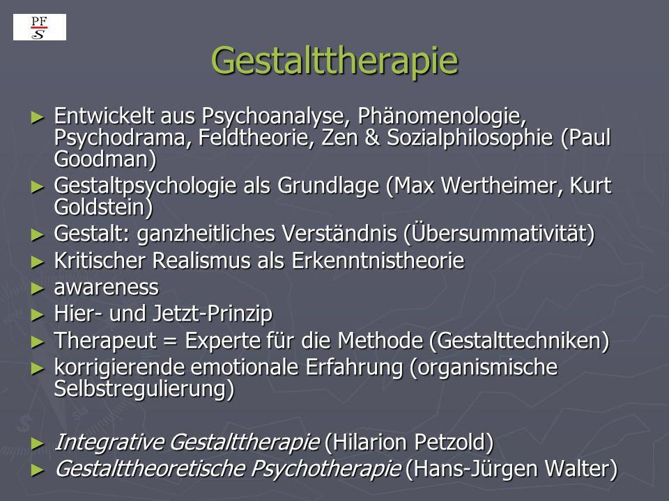Gestalttherapie Entwickelt aus Psychoanalyse, Phänomenologie, Psychodrama, Feldtheorie, Zen & Sozialphilosophie (Paul Goodman)