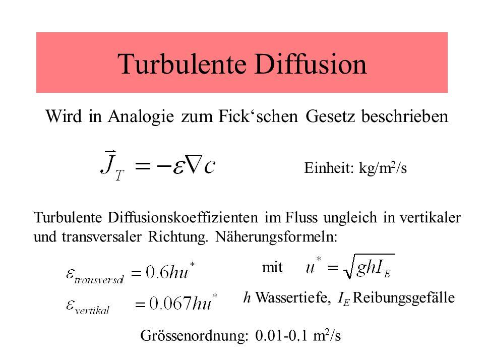 Turbulente Diffusion Wird in Analogie zum Fick'schen Gesetz beschrieben. Einheit: kg/m2/s.