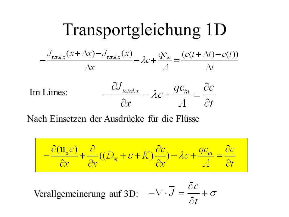 Transportgleichung 1D Im Limes: