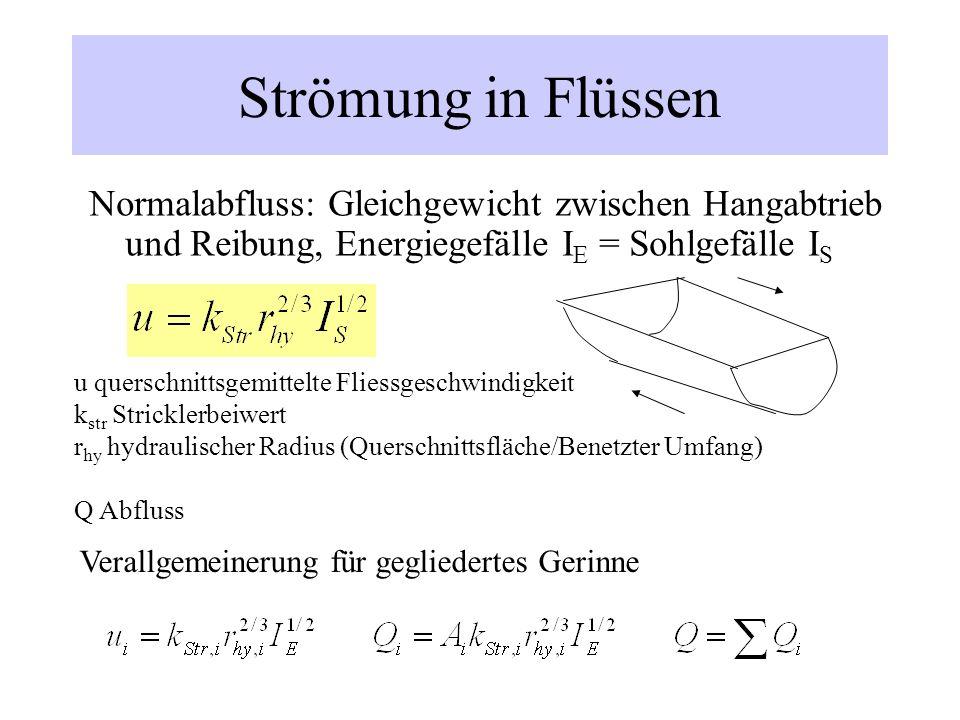 Strömung in FlüssenNormalabfluss: Gleichgewicht zwischen Hangabtrieb und Reibung, Energiegefälle IE = Sohlgefälle IS.