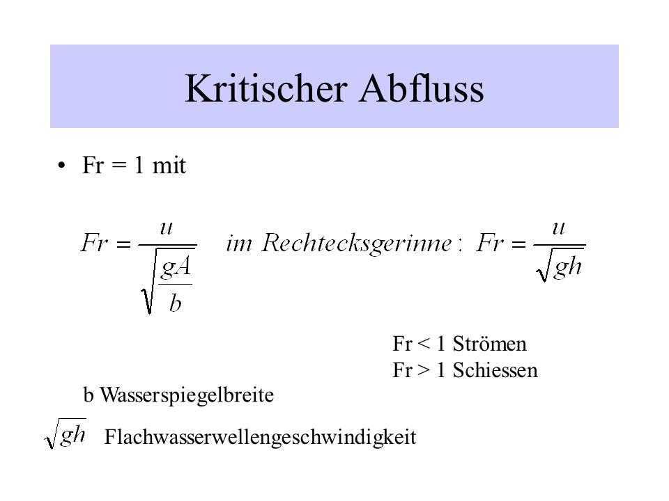 Kritischer Abfluss Fr = 1 mit Fr < 1 Strömen Fr > 1 Schiessen