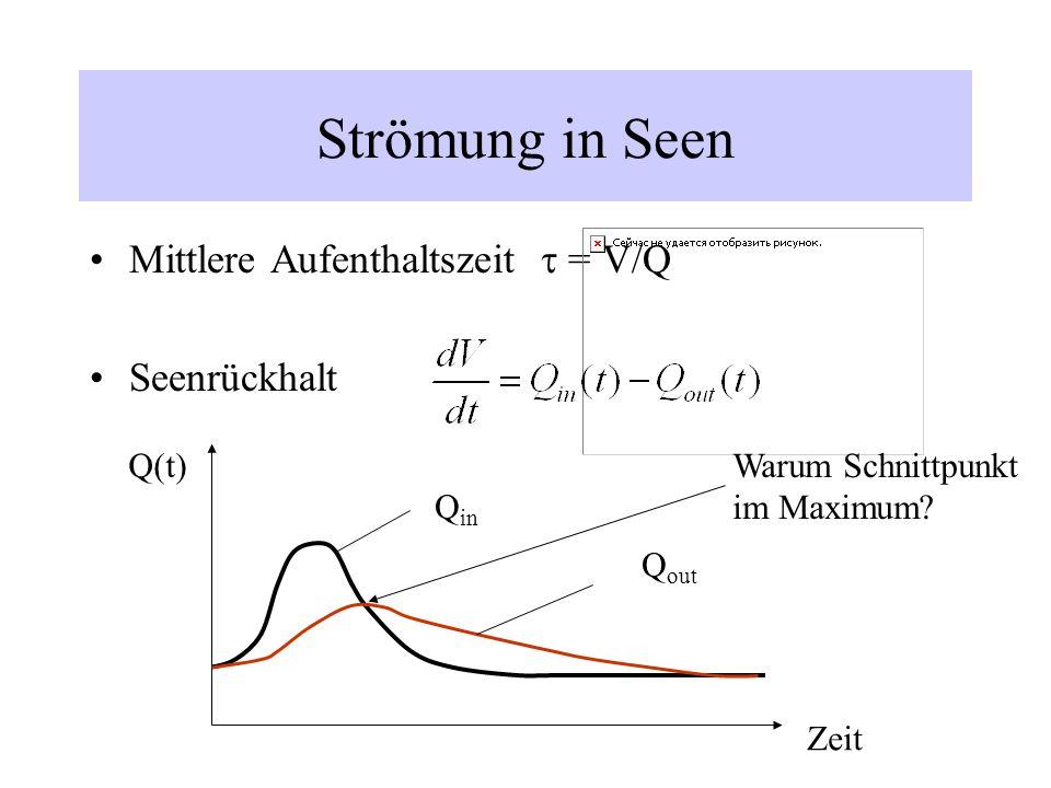 Strömung in Seen Mittlere Aufenthaltszeit t = V/Q Seenrückhalt Q(t)