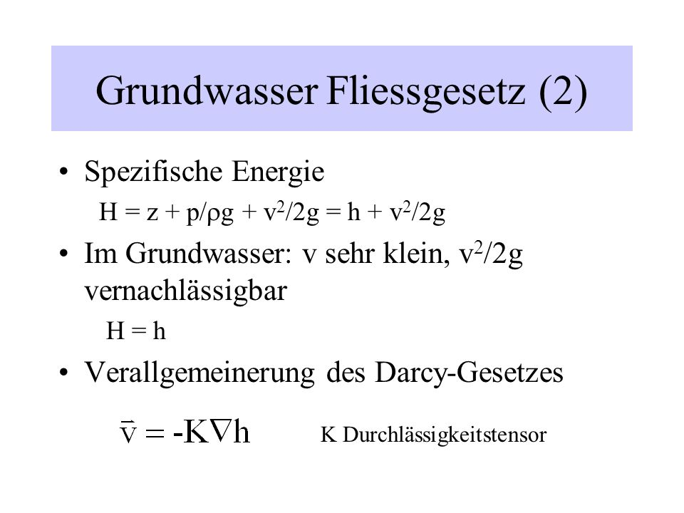 Grundwasser Fliessgesetz (2)