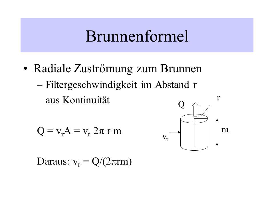 Brunnenformel Radiale Zuströmung zum Brunnen
