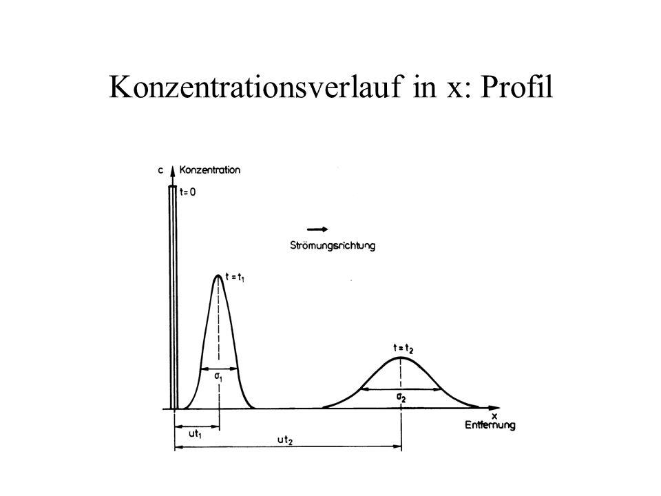 Konzentrationsverlauf in x: Profil