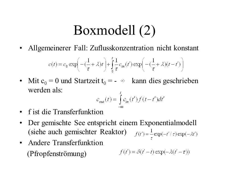 Boxmodell (2) Allgemeinerer Fall: Zuflusskonzentration nicht konstant