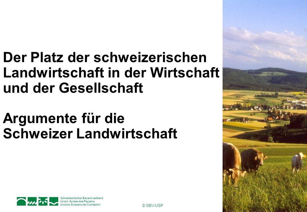 Der Platz der schweizerischen Landwirtschaft in der Wirtschaft und der Gesellschaft Argumente für die Schweizer Landwirtschaft