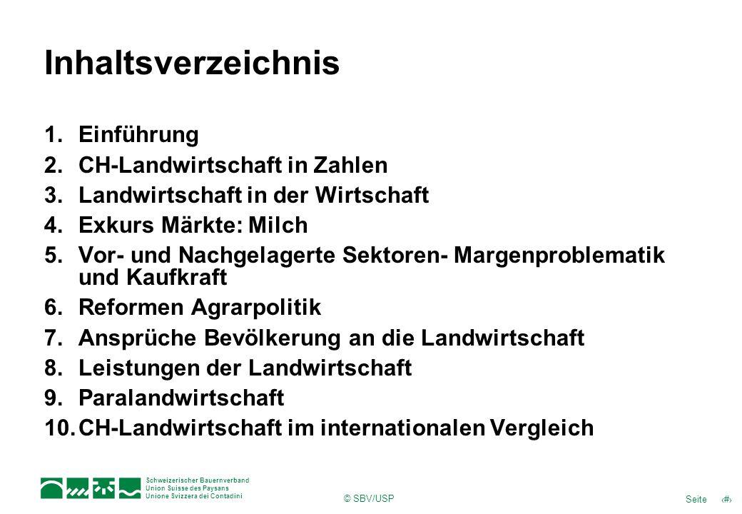 Inhaltsverzeichnis Einführung CH-Landwirtschaft in Zahlen