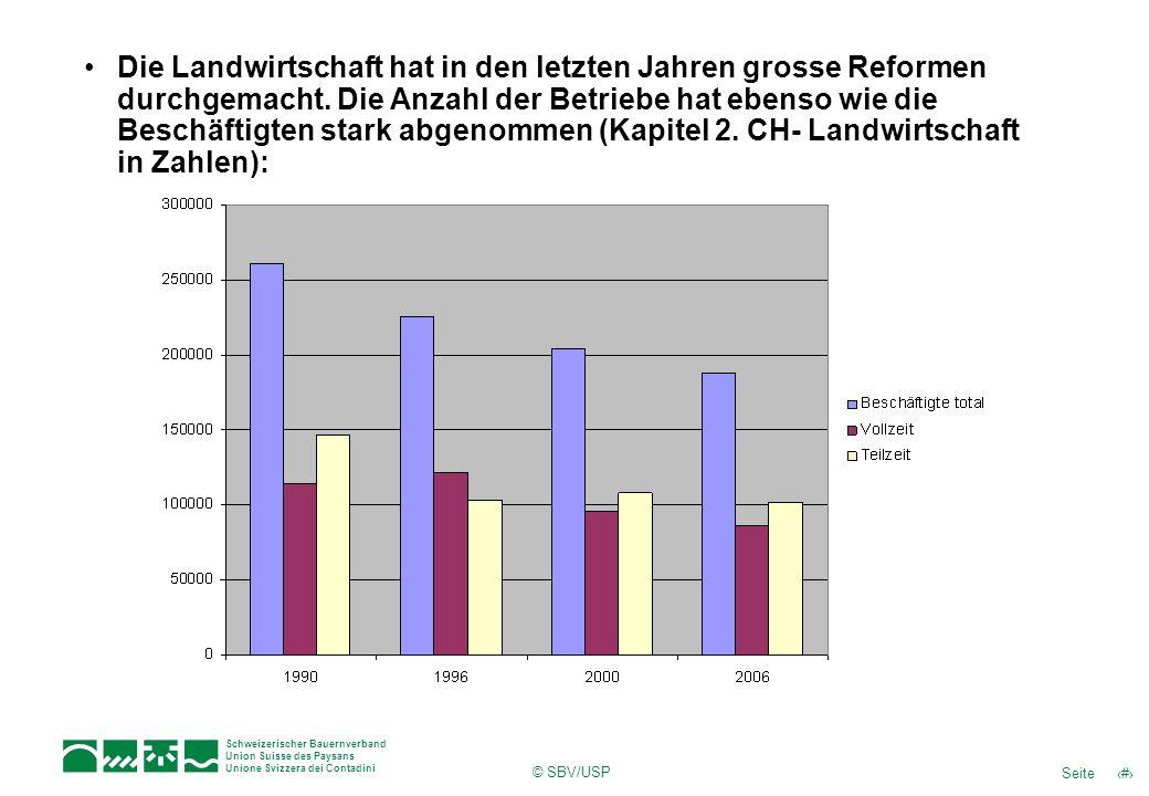 Die Landwirtschaft hat in den letzten Jahren grosse Reformen durchgemacht. Die Anzahl der Betriebe hat ebenso wie die Beschäftigten stark abgenommen (Kapitel 2. CH- Landwirtschaft in Zahlen):