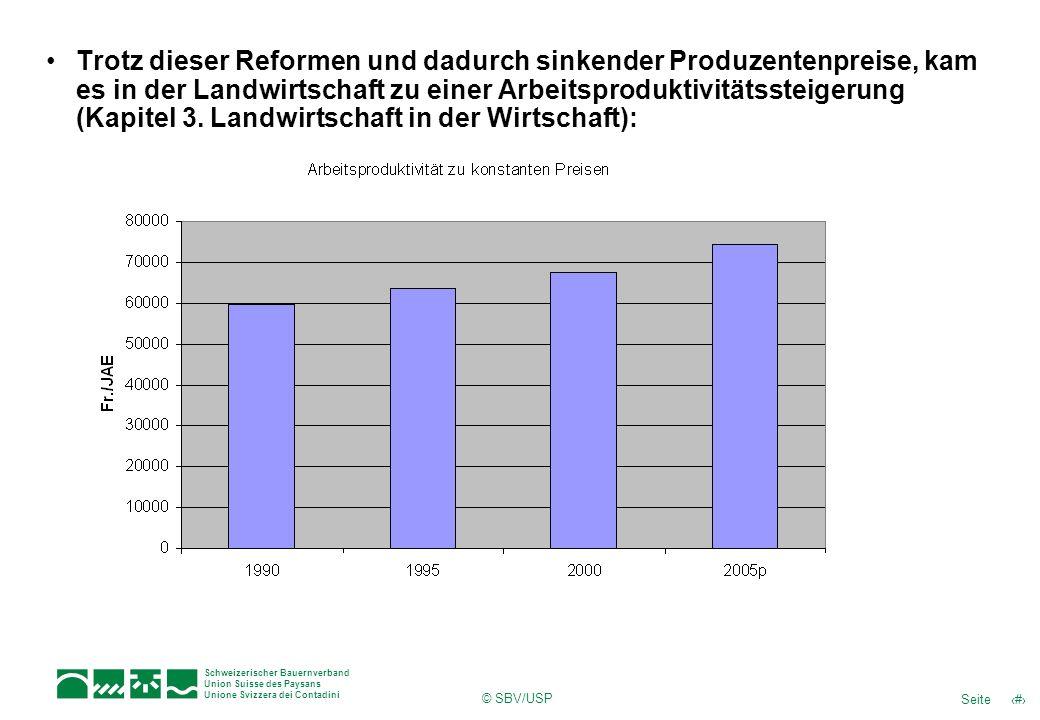 Trotz dieser Reformen und dadurch sinkender Produzentenpreise, kam es in der Landwirtschaft zu einer Arbeitsproduktivitätssteigerung (Kapitel 3. Landwirtschaft in der Wirtschaft):