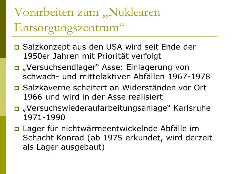"""Vorarbeiten zum """"Nuklearen Entsorgungszentrum"""