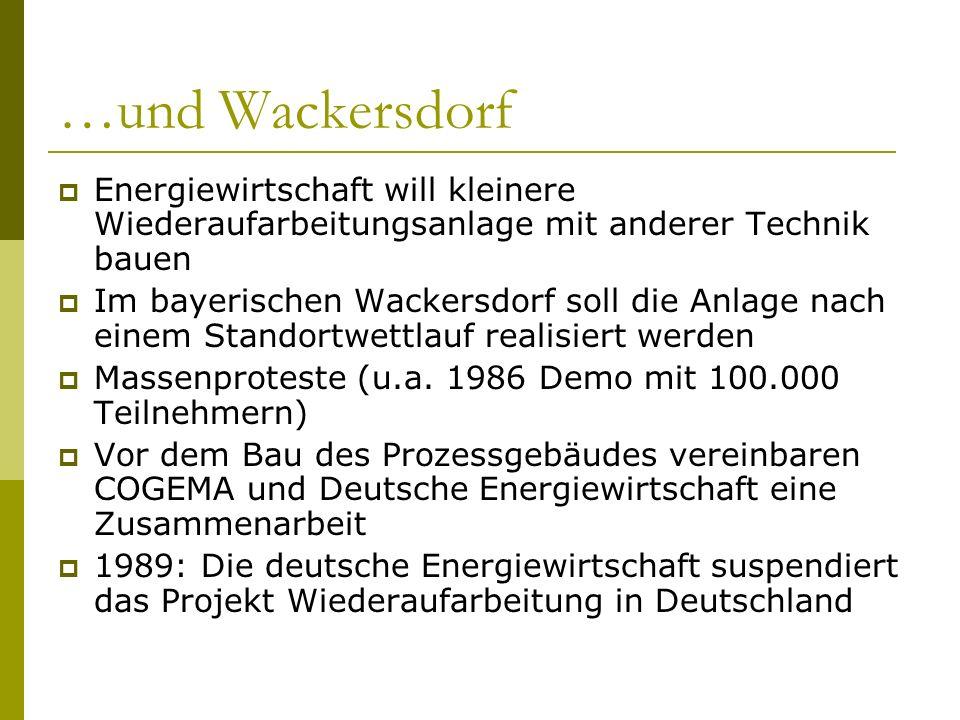 …und WackersdorfEnergiewirtschaft will kleinere Wiederaufarbeitungsanlage mit anderer Technik bauen.