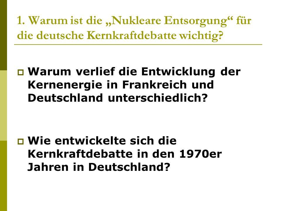 """1. Warum ist die """"Nukleare Entsorgung für die deutsche Kernkraftdebatte wichtig"""