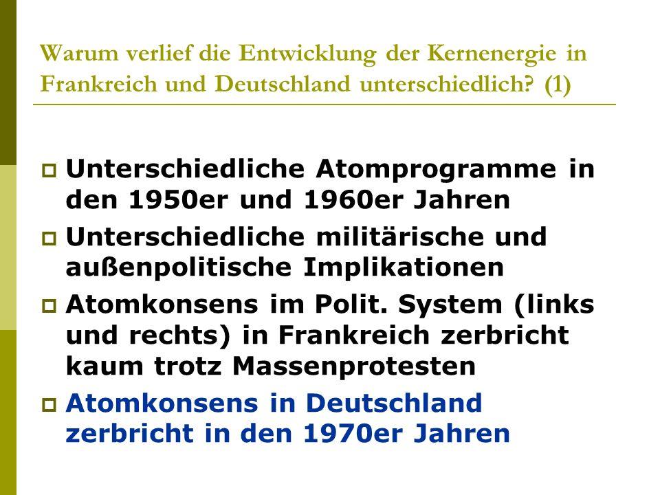 Warum verlief die Entwicklung der Kernenergie in Frankreich und Deutschland unterschiedlich (1)