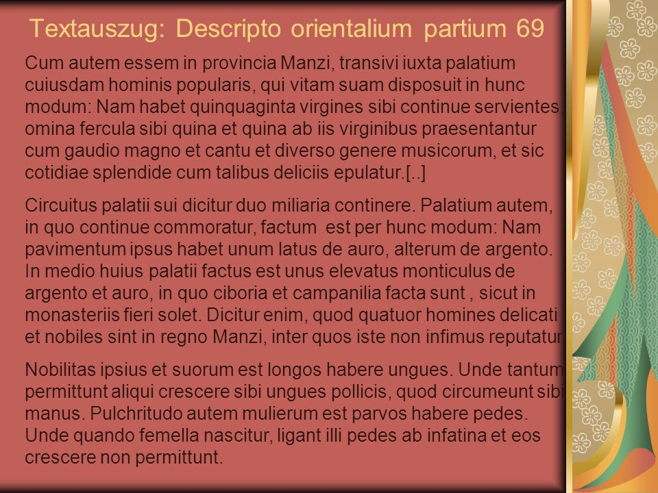 Textauszug: Descripto orientalium partium 69