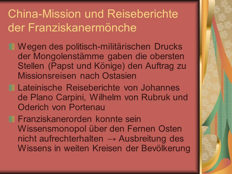 China-Mission und Reiseberichte der Franziskanermönche