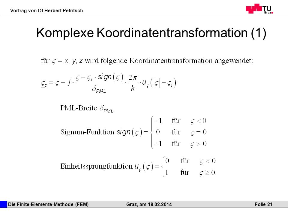 Komplexe Koordinatentransformation (1)