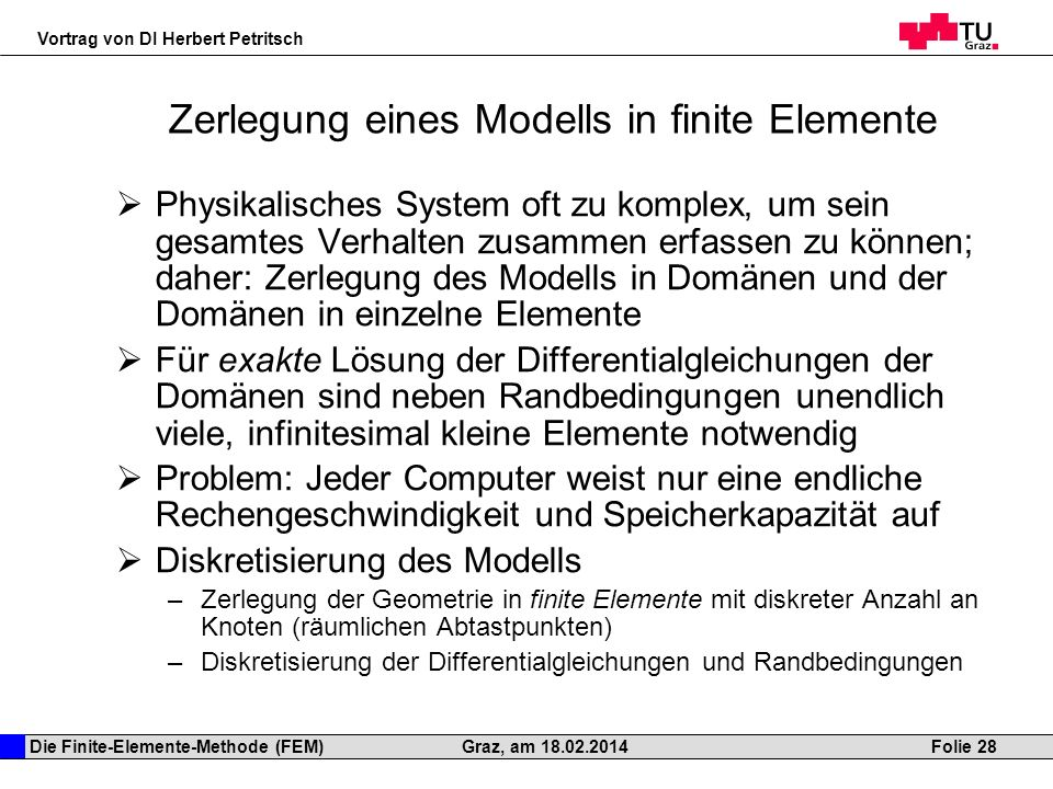 Zerlegung eines Modells in finite Elemente