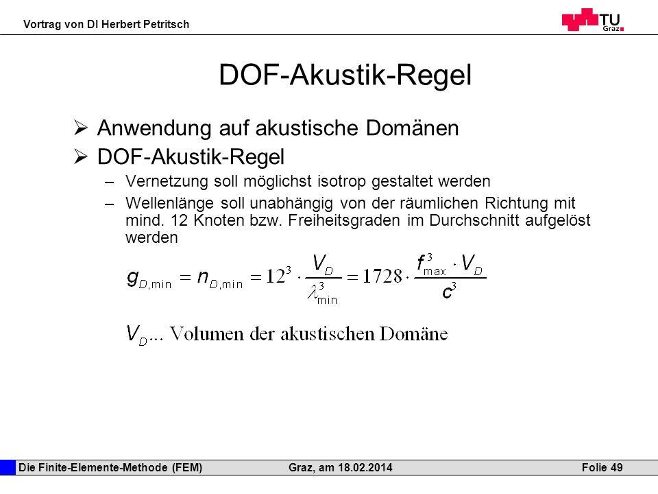 DOF-Akustik-Regel Anwendung auf akustische Domänen DOF-Akustik-Regel