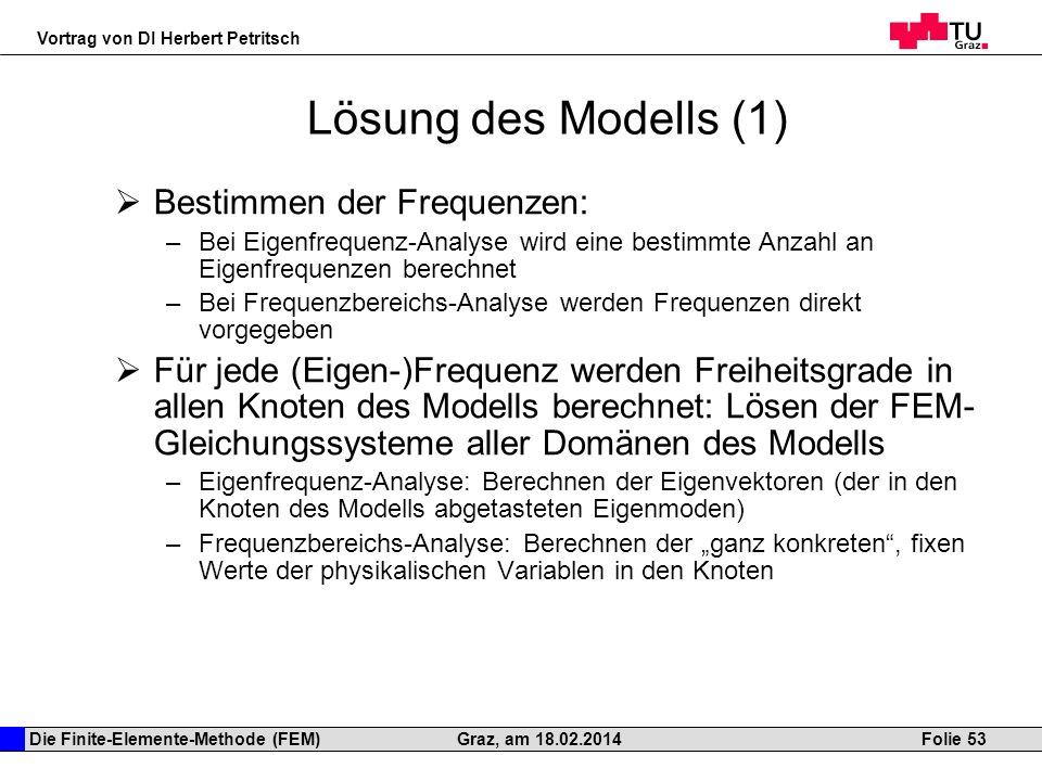 Lösung des Modells (1) Bestimmen der Frequenzen: