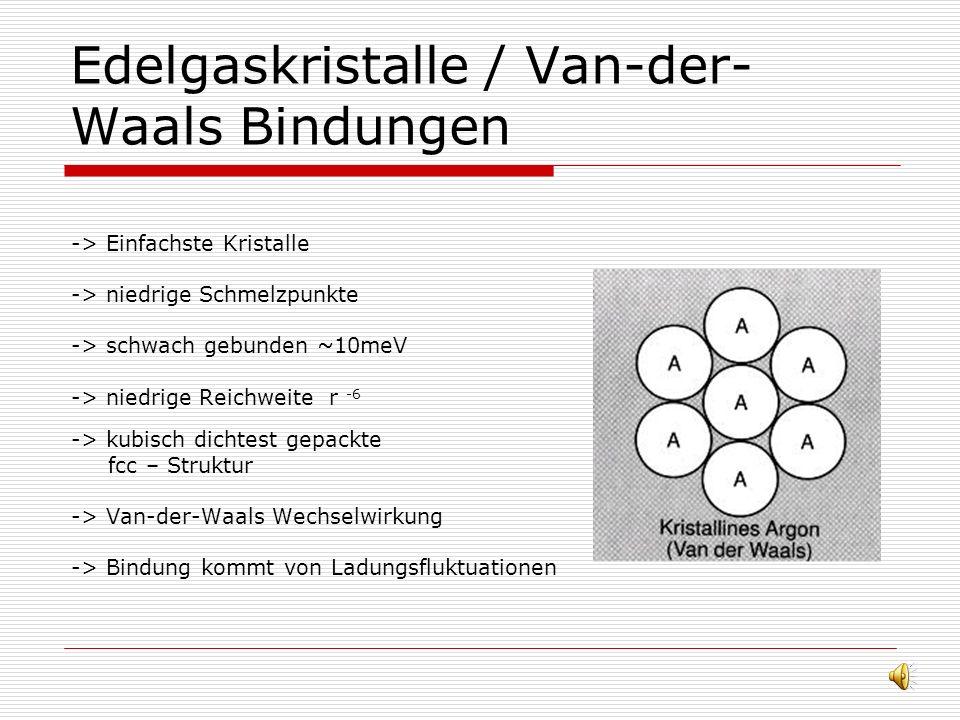 Edelgaskristalle / Van-der-Waals Bindungen