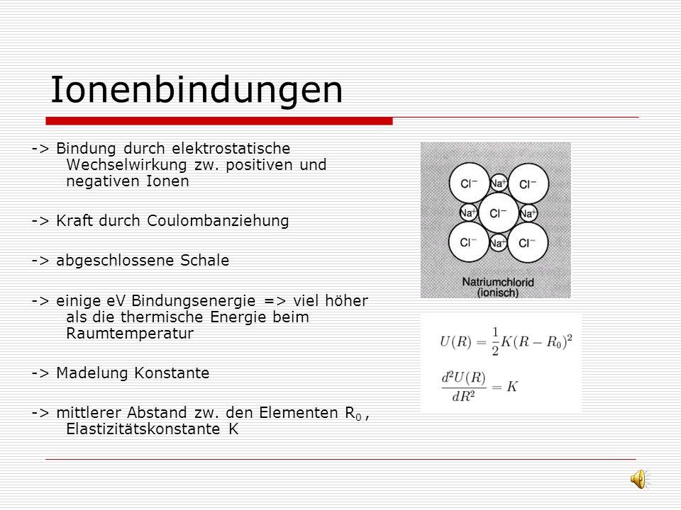 Ionenbindungen -> Bindung durch elektrostatische Wechselwirkung zw. positiven und negativen Ionen. -> Kraft durch Coulombanziehung.