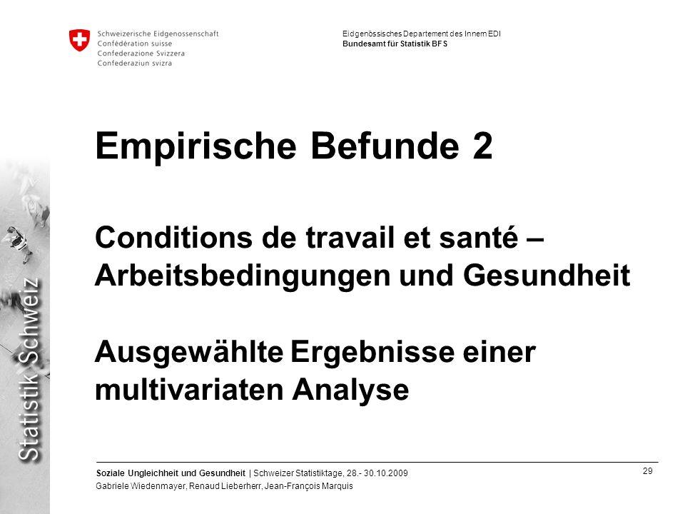 Empirische Befunde 2 Conditions de travail et santé –