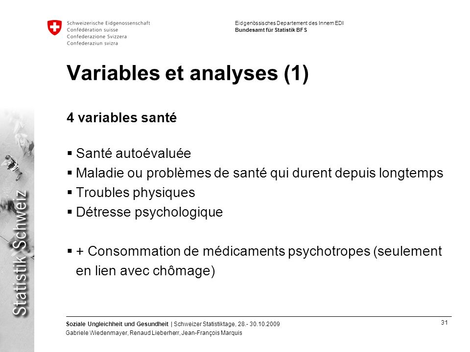 Variables et analyses (1)