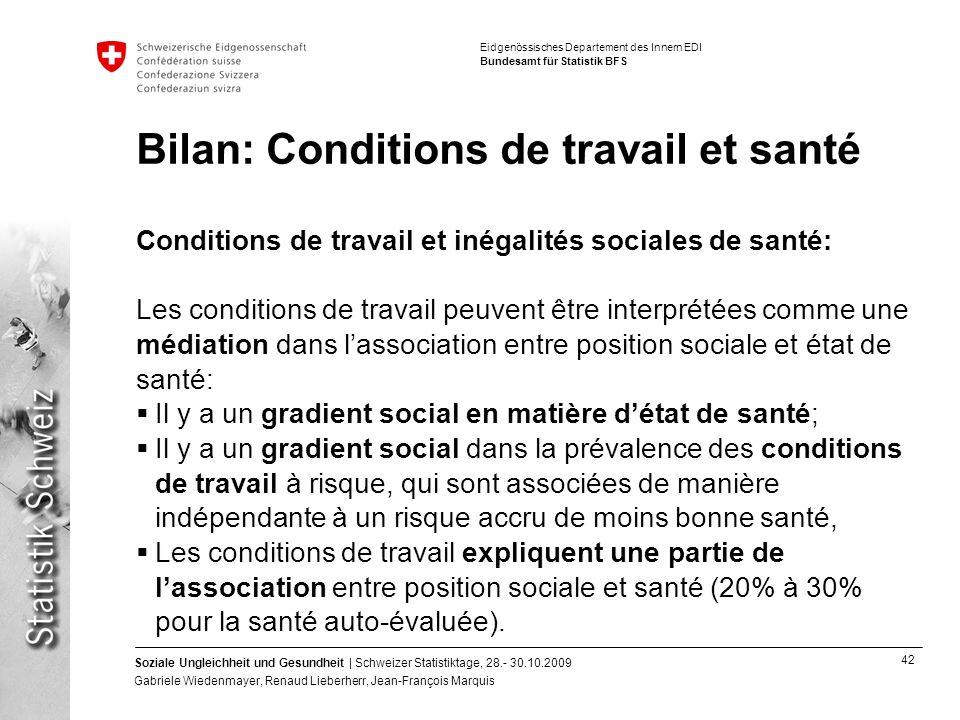 Bilan: Conditions de travail et santé