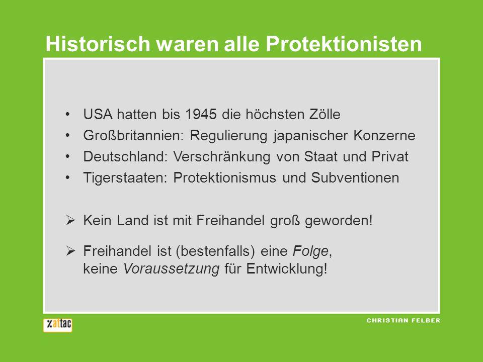 Historisch waren alle Protektionisten
