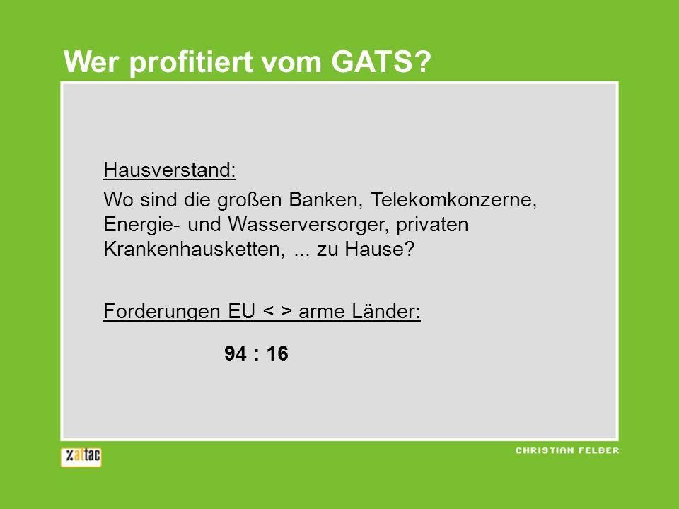 Wer profitiert vom GATS